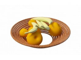 Apples and bananas in basket 3d model