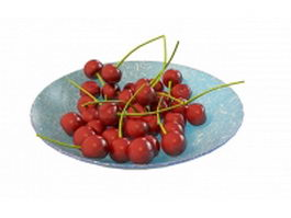 Cherries on plate 3d model