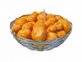 Persimmons fruit in basket 3d model
