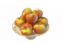 Red apples on plate 3d model