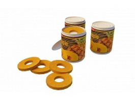 Canned pineapple slices 3d model