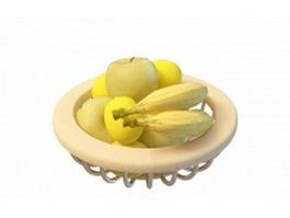 Banana and apple fruit basket 3d model
