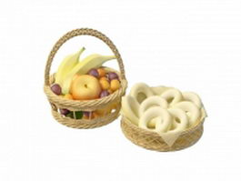Basket of fruit and cheese 3d model