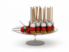 Food on sticks 3d model