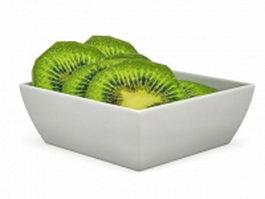 Kiwi slices in plate 3d model