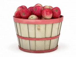 Apples in barrel basket 3d model