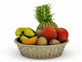 Basket of fruits 3d model