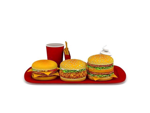 Mcdonalds family dinner pack 3d model 3ds max files free for Model chicken set