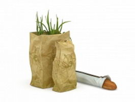 Paper bag with food 3d model