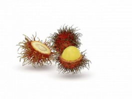 Unpeeled and peeled rambutan 3d preview