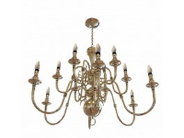 Brass chandeliers for dining room 3d model