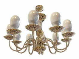 Brass chandelier with shades 3d model