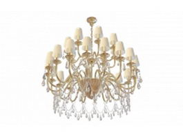 Brass chandelier with shades and drop 3d model
