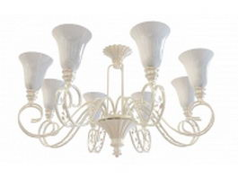 Classic chandelier with shades 3d model