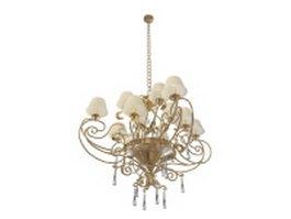 Dutch brass chandelier 3d model