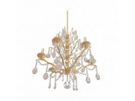 Brass chandelier with crystal drop 3d model