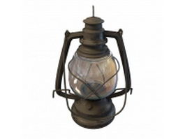 Antique cast iron oil lamp 3d model