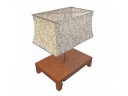 Square wood base table lamp 3d model