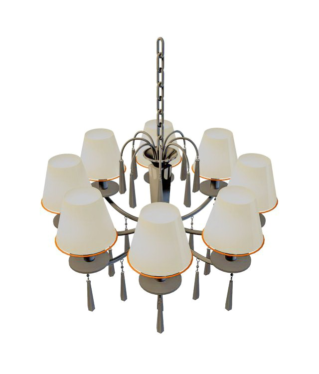 Industrial chandelier with shades 3d rendering