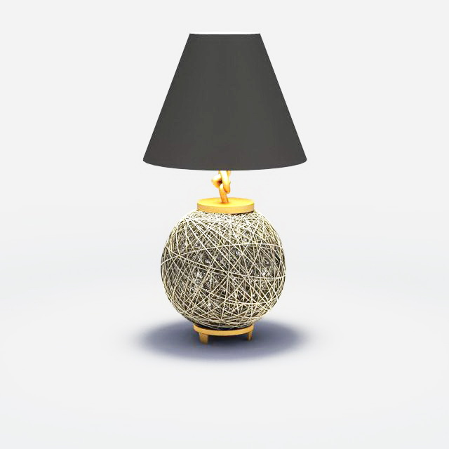 High Detailed 3D Model Of Wire Ball And Brass Table Lamp With Black Shades.  Available 3d File Format: .max (3d Studio Max 2010) V Ray Render. Free  Download ...