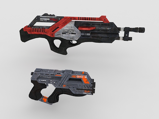 Sci Fi game weapons 3d rendering