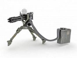 Minigun with ammo belt & backpack 3d model