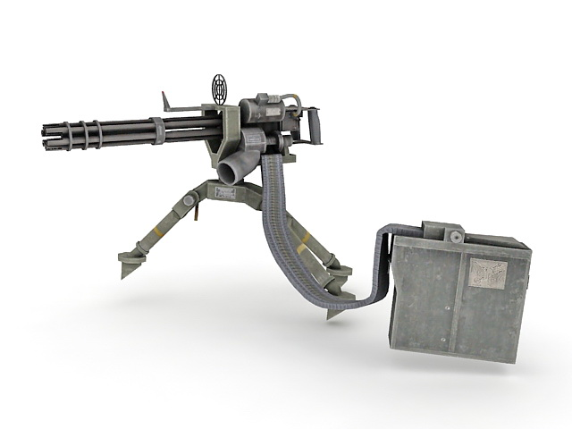 Minigun With Ammo Belt Amp Backpack 3d Model 3ds Max Files
