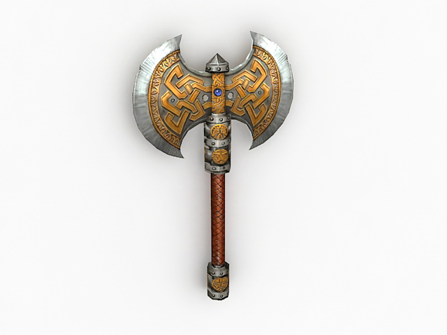 Ornate Medieval Battle Axe 3d Model 3ds Max Files Free
