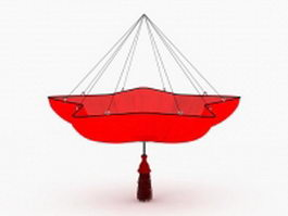 Red pendant lampshade 3d model