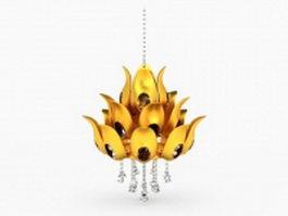 Gold lotus chandelier fixture 3d model