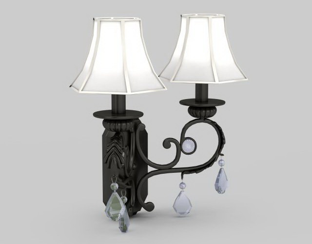 Wrought Iron Wall Lamp Shades : Wrought iron wall sconce 3d model 3ds max files free download - modeling 32130 on CadNav