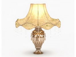 Luxury table lamp with golden leaf 3d model
