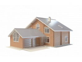 Country house with garage 3d model