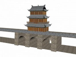 Ancient city wall in China 3d model