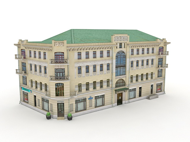 Historical russian apartment building 3d model 3ds max for Apartment 3d model