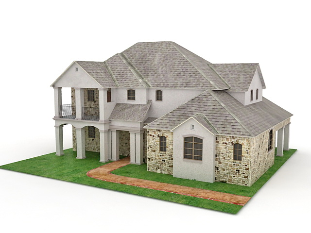 American house design 3d model 3ds max files free download 3d model house design