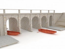 Stone bridge, wharf and boat 3d model