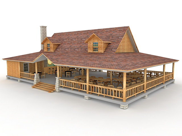 Village Gift Shop And Restaurant Building 3d Model 3ds Max