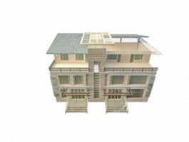 Modern townhouse design 3d model