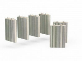 Apartment block residential area 3d model