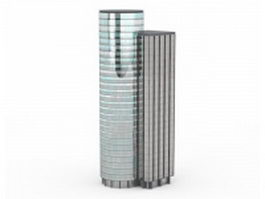 Glass cylinder building 3d model