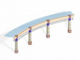 Curved glass pergola structures 3d model