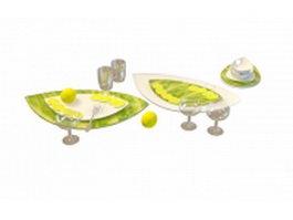 Dinnerware with lemon 3d model