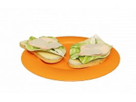Plate of Sandwiches 3d model