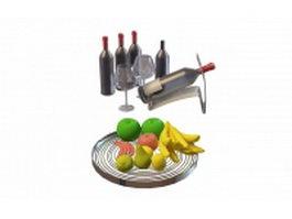 Fresh fruit and wine 3d model