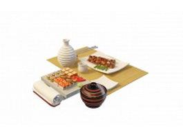 Japanese food cuisine 3d model