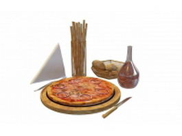 Romantic pizza dinner 3d model