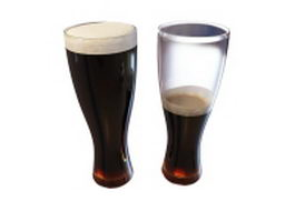 Two glasses of black beer 3d model