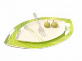Mango plate with fork 3d model