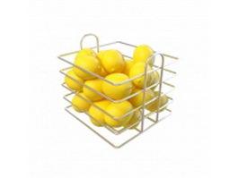 Lemon in basket 3d model